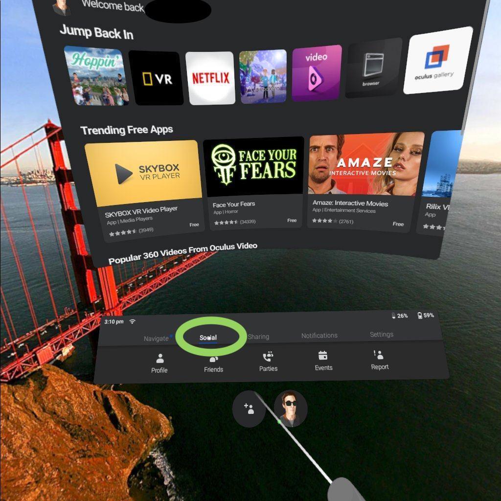 step 2 - click on the social tab - oculus go - hoppin